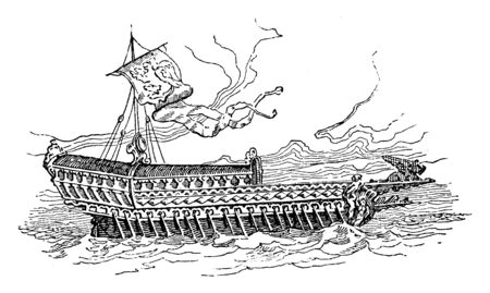 State Barge of Venice which was used in the ceremony of Wedding the Adriatic, vintage line drawing or engraving illustration.