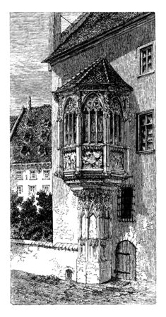 Choir of the Church of St Sebald is an octagonal projection known as The Choir of St Sebald, vintage line drawing or engraving illustration. Çizim