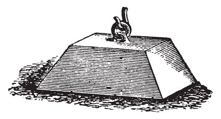 Buoy Mooring Block which are places in harbours for the convenience of vessels frequenting them, vintage line drawing or engraving illustration.