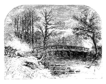 The first shot fired against the British, during the Battle of Lexington and Concord.,vintage line drawing or engraving illustration.