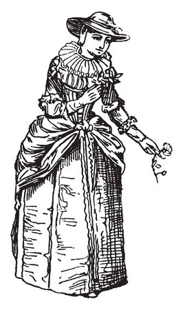 Lady of London from the Time of Charles II was king of Scotland from 1649 until his deposition in 1651, vintage line drawing or engraving illustration.