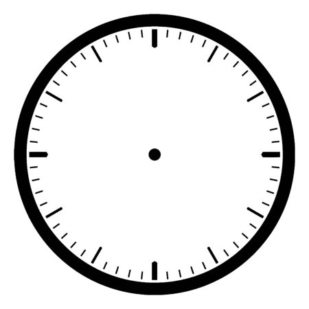 Blank Clock which is a round clock face with dash marks showing no time, vintage line drawing or engraving illustration.