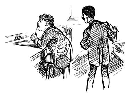 Ein Mann, der am Tisch sitzt und ein anderer Mann, der über seine Schulter schaut, Vintage-Linienzeichnung oder Gravurillustration Vektorgrafik