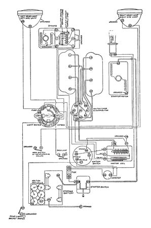 Electrical Diagram for Gray & Davis starting and lighting installation on the Peerless, vintage line drawing or engraving illustration.