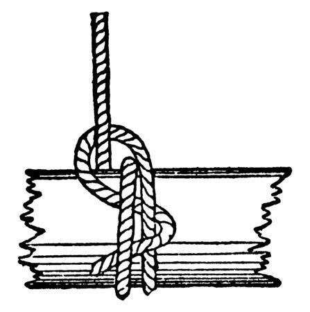 Studding sail Halyard Bend is a knot similar to a fisherman bend used to secure a rope to a spar, vintage line drawing or engraving illustration. Ilustração
