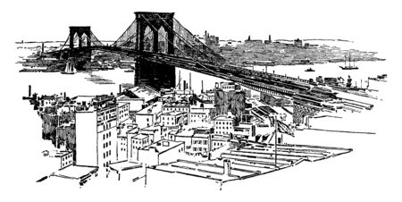 The Brooklyn Bridge is a hybrid cable stayed suspension bridge in New York City and is one of the oldest roadway bridges in the United States, vintage line drawing or engraving illustration. Illusztráció