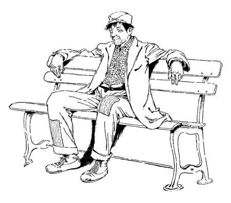 Ein Mann, der auf einer Bank sitzt, Vintage-Linienzeichnung oder Gravurillustration engraving