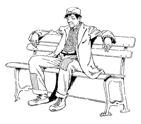 A man sitting on a bench, vintage line drawing or engraving illustration