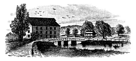 King Bridge in 1860 is located in the northwest Bronx New York, vintage line drawing or engraving illustration. Иллюстрация