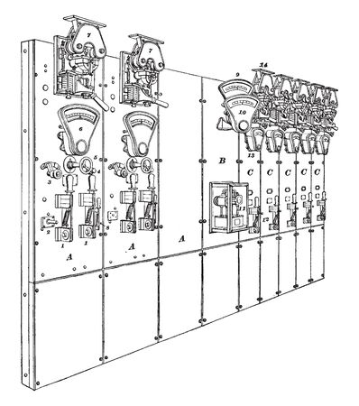 Railway Switchboard consists of three generator panels one total output panel and five feeder panels, vintage line drawing or engraving illustration.