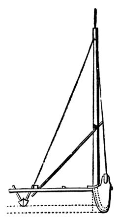 End View of Proa is a type of sailing vessel with multi hulls, vintage line drawing or engraving illustration.