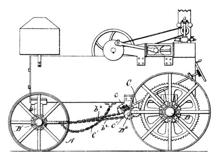 For Wheeled Road Engine is features traction wheels the crank shaft is adapted to rotate continuously on the wheels, vintage line drawing or engraving illustration.