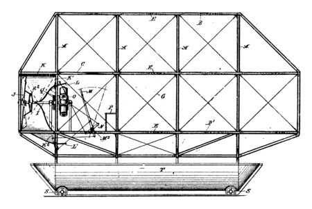 Early Airship is a self propelled lighter than air aircraft with means of controlling the direction of flight, vintage line drawing or engraving illustration.