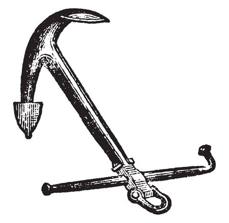Admiralty Anchor differs only from the ordinary anchor in having a nut, vintage line drawing or engraving illustration.