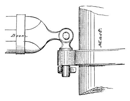Gooseneck of Spanker Boom is a sort of iron hook fitted to the inner end of a yard or boom for temporary attachmen, vintage line drawing or engraving illustration.