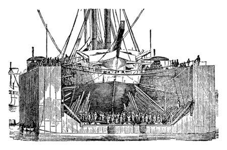 Floating dock is a platform or ramp supported by pontoons, vintage line drawing or engraving illustration.