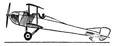 Aeroplane Low Tail Fast Landing Design requires a large landing area to stop the plane, vintage line drawing or engraving illustration.