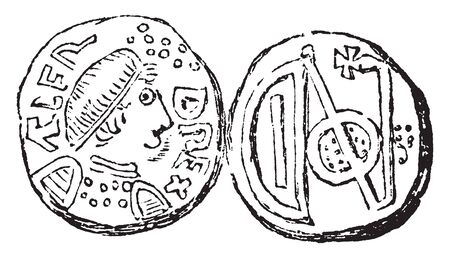 English Coin where the pennies of the Saxon and Danish sole monarches of England had a portrait on them, vintage line drawing or engraving illustration. Ilustrace