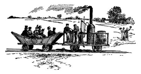 Peter Cooper Train manufactured the first steam powered railroad locomotive made in America which was called Tom Thumb, vintage line drawing or engraving illustration.
