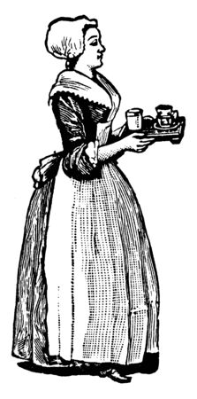 A maid holding tray of food in hands, vintage line drawing or engraving illustration