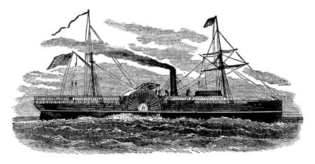 The Star of the West was a civilian ship hired by the United States government to transport military supplies, vintage line drawing or engraving illustration. Stock Illustratie