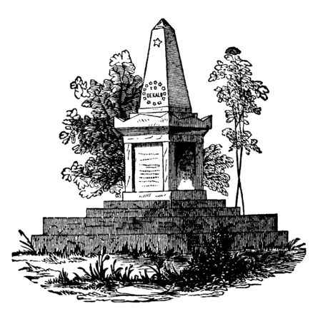Monument to Johann von Robaii, Baron de Kalb a German soldier and volunteer ,vintage line drawing or engraving illustration.
