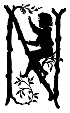 A capital letter N made of tree branches and child sitting on it, vintage line drawing or engraving illustration