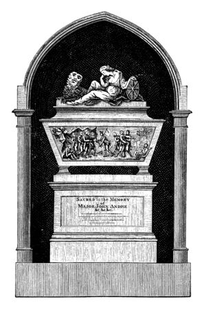 A monument to mark the spot of the site where the British spy  John Andre was hanged,vintage line drawing or engraving illustration.