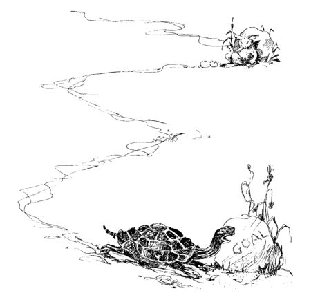 This illustration represents Tortoise Reaching Goal along a long path, vintage line drawing or engraving illustration.
