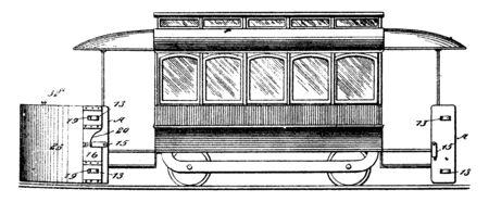 Rejilla del guardabarros del automóvil en el guardabarros de la rueda trasera de un tractor para proporcionar medios visuales para determinar la condición de rotación de la rueda, dibujo de línea vintage o ilustración de grabado Ilustración de vector