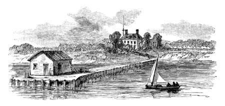 Harrison Landing at Berkeley Plantation is one of the first great estates in America located on the banks of the James River, vintage line drawing or engraving illustration.