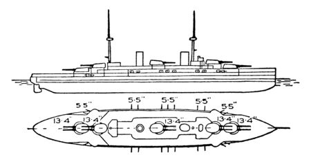 Bretagne Class Battleship French Navy has a top speed 20 knots and operated by coal and oil, vintage line drawing or engraving illustration.