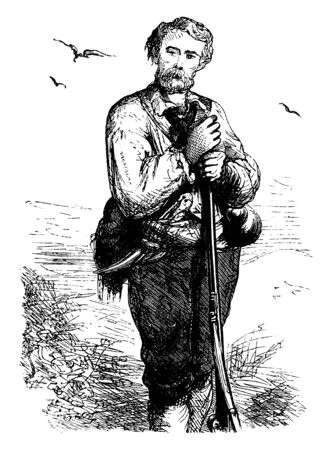 A man holding rifle in hand, vintage line drawing or engraving illustration Illustration