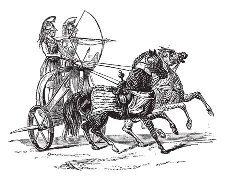A Chariot of Iron is a horse drawn chariot for soldiers used to break enemy battalions, vintage line drawing or engraving illustration.