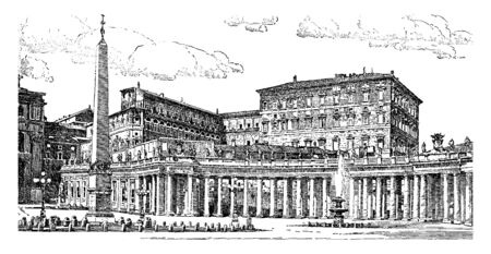 The Vatican is a country located within the city of Rome, vintage line drawing or engraving illustration.