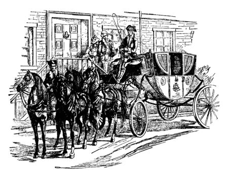The President Equipage is an elegant horse drawn carriage with its retinue of servants is an equipage, vintage line drawing or engraving illustration. Ilustrace