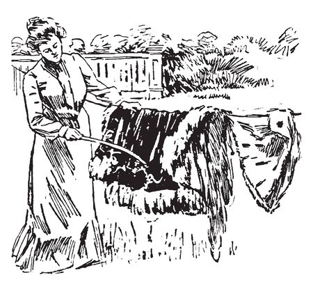 A woman beating fur with a rubber hose, vintage line drawing or engraving illustration
