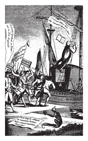 A colonial political cartoon,vintage line drawing or engraving illustration.