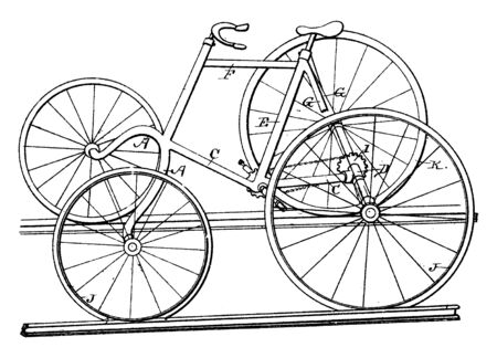 Four Wheeled Railroad Velocipede is a human powered vehicle with four wheels, vintage line drawing or engraving illustration.