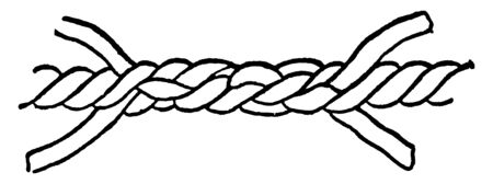 Short Splice is the most common description of splice is when a rope is lengthened by another of the same size, vintage line drawing or engraving illustration.