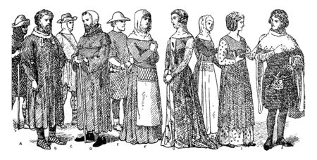 England Fourteenth Century Fashion where the coifs worn by the bearded man with a cane distinguishes him as a lawyer, vintage line drawing or engraving illustration.