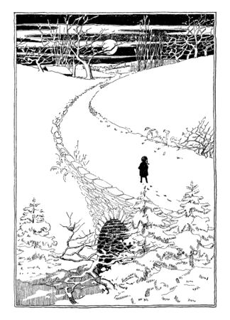 Snowy Scene where a child walks along a snow covered bridge at night, vintage line drawing or engraving illustration.