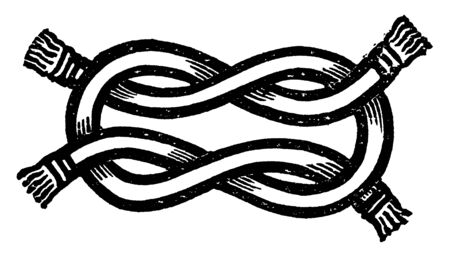 Bourchier Knot is a binding knot used to secure a rope or line around an object, vintage line drawing or engraving illustration.