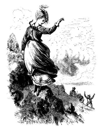 A woman standing on top of mountain and waving at men standing on ground, vintage line drawing or engraving illustration