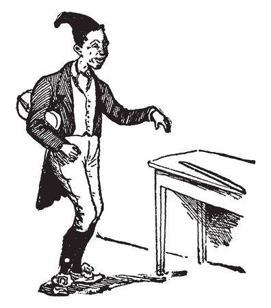 Fiddler standing near table, vintage line drawing or engraving illustration Illustration