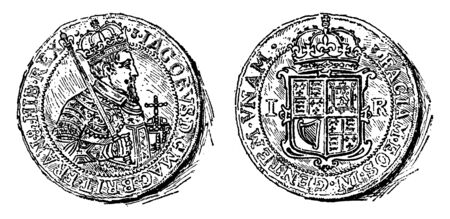 Gold Coin of James I which was the first coin to bear the name Great Britain, vintage line drawing or engraving illustration.