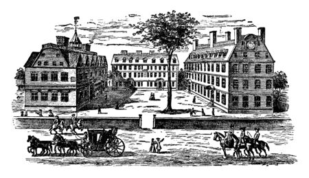Harvard College is located in Cambridge, Massachusetts ,vintage line drawing or engraving illustration.