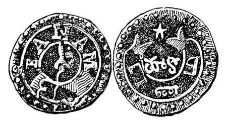 Obverse and Reverse Sides of Fanam of Madras which is the obverse and reverse sides of the fanam, vintage line drawing or engraving illustration. Illustration