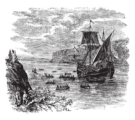 Ship of Henry Hudson who was an English sea explorer and navigator ,vintage line drawing or engraving illustration.