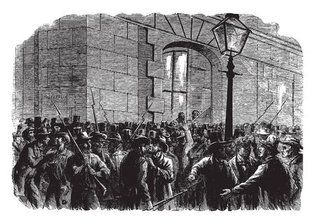 Group of men with guns standing at the entrance, vintage line drawing or engraving illustration Standard-Bild - 132853821